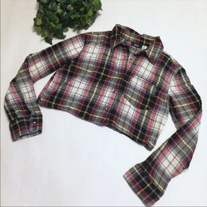 🍁 BDG flannel button down crop top UO